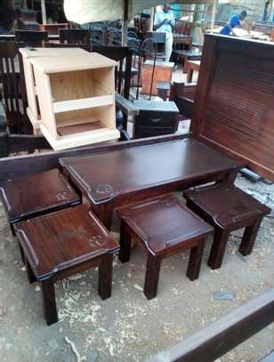 Solid Mahogany Coffee tables and stools image 3