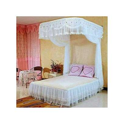 2 Stand Mosquito Net with Sliding Rail 6 by 6 - White image 1