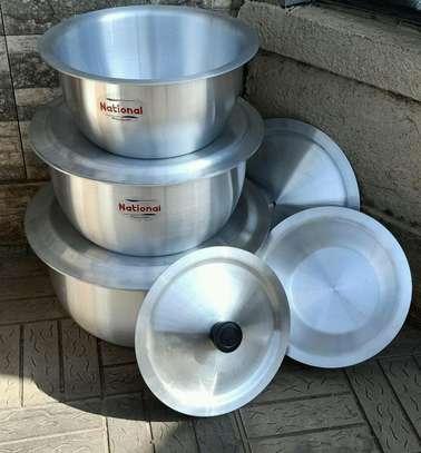 *Aluminium Cookware set* 4 cooking pots with lids image 1