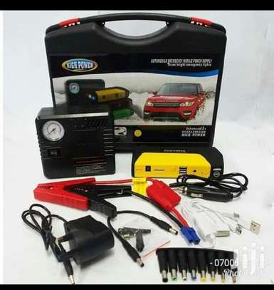 Jam starter with tire inflator