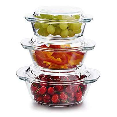 3 Pcs Glass Casserole Set With Lids image 3