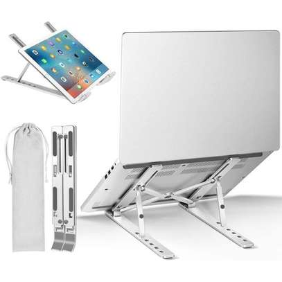 Adjustable Laptop Stand For Desk, Portable Laptop Stand, Aluminum Ventilated Computer Laptop Holder Riser For MacBook Air Pro Accessories, Ipad Tablet Stand,7 Height,10-15.6'' Notebook And Tablet image 1