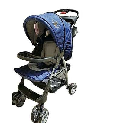 Baby Stroller/ Foldable Pram Portable Baby Stroller With Universal Casters- Blue image 1