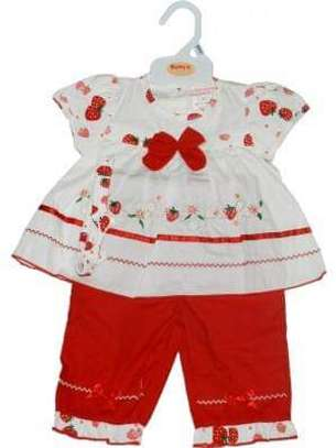 Baby Girls Red Floral 2 Piece Outfit Made in UK image 2