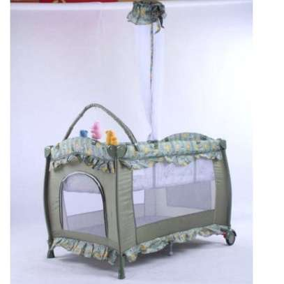 Baby Playpen Bed Baby Crib With Changing Table And Overhead Toys-Multicolour image 1