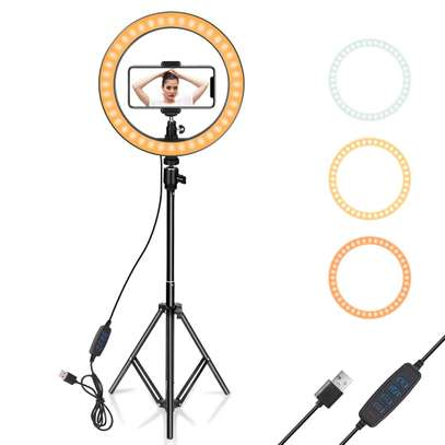 LED Ring Light 10-inch with Tripod Stand and Phone Holder, Flexible Hose, USB Powered image 2