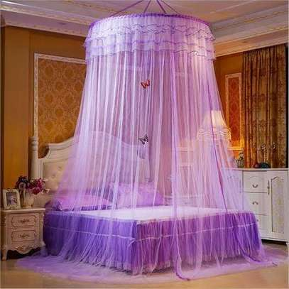 Round Mosquito Net Free Size For Double Decker And All Types Of Beds - Purple