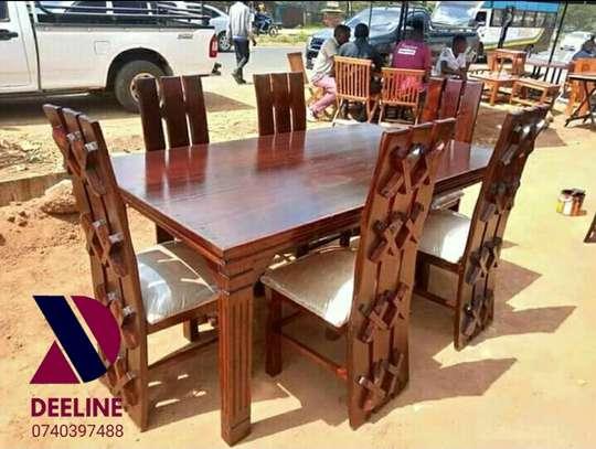 Rectangular 6 Seater Mahogany Framed Dining Sets image 6