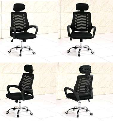 Adjustable office chair with headrest for comfort image 1