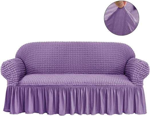 5 seater purple elastic sofa covers image 1