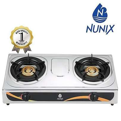 Nunix Two Burner Table Top Gas Cooker Auto Ignition image 1