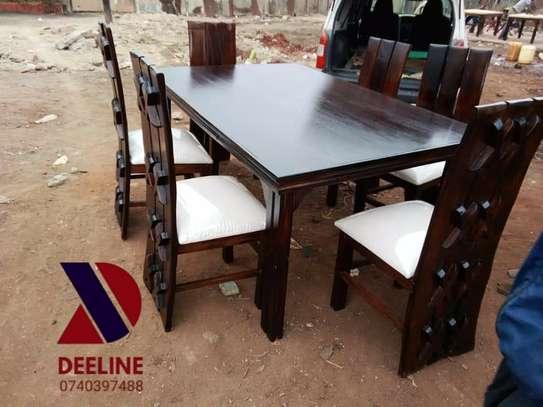 Rectangular 6 Seater Mahogany Framed Dining Sets image 9