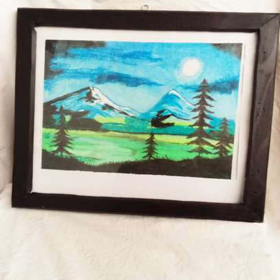 Mountain in the Night sky Painting image 1
