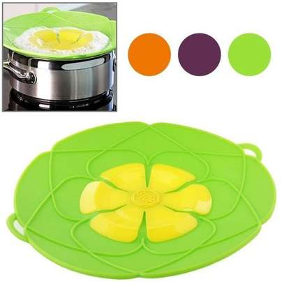 Spill-Proof, Anti-Flutter and Heat-Resistant Silicone Pot Cover (Ramdom Color Delivery) image 1