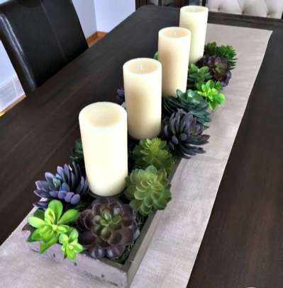 Table center piece with real succulents image 1