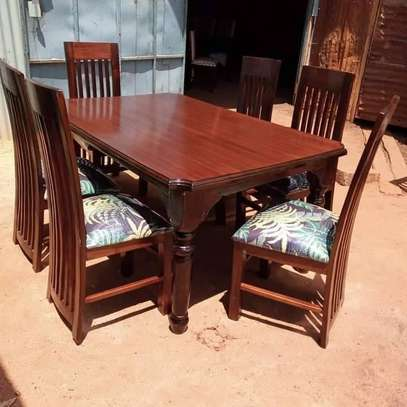 6 Seater Mahogany Framed Dining Table Sets. image 4