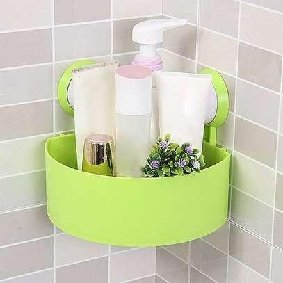 Bathroom/Toilet Vacuum Suction Cup Corner  Triangle Shelf  -Green image 1