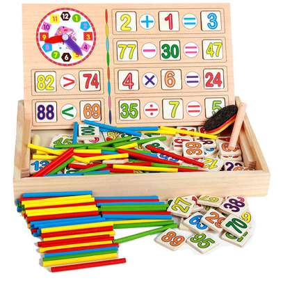 Multifunctional Kids Wooden Math Toys Montessori Early Learning Educational Baby Gift image 1