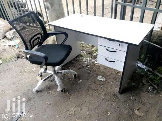 Computer office desk plus gas lift height adjustable swivel chair image 1