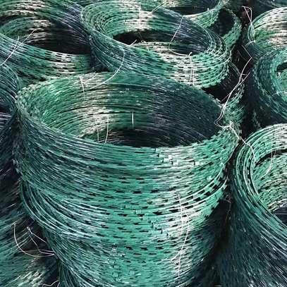 Galvanized green razor wire 450mm image 1