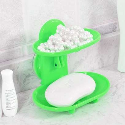 Double Layers Bathroom Soap Holder Rack - Green image 1
