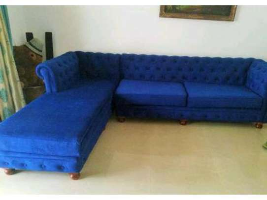 Six seater blue chesterfield L shaped sofas/Sofas for sale in Nairobi Kenya/Sofas and Sectionals for sale in Nairobi Kenya image 1