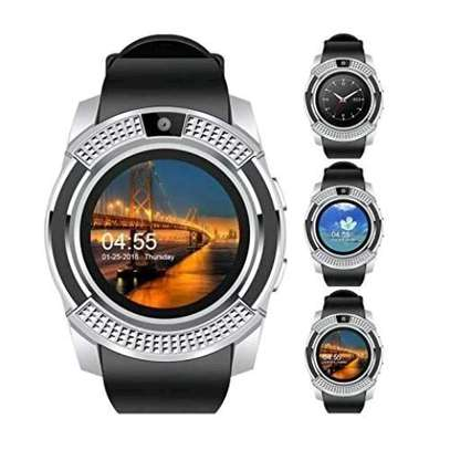 S006 Touch Screen Sports Round Screen Smart Phone Watch - Silver Black image 1