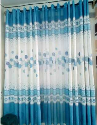 Blue and white printed curtain image 1