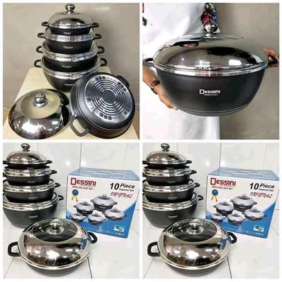 10pcs desini granite cookware set black image 1