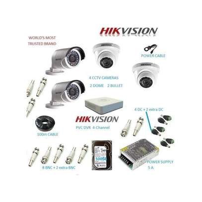 Hikvision 4 CCTV CAMERA FULL PACKAGE 720P With Night Vision image 1