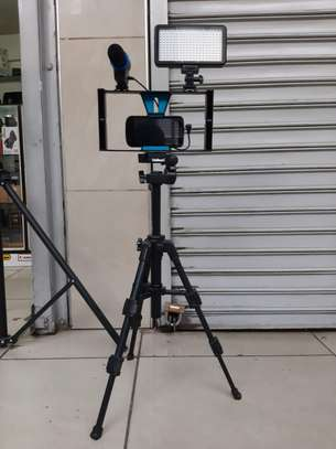 vlogging kit (tripod stand, camera cage, microphone and led video light)