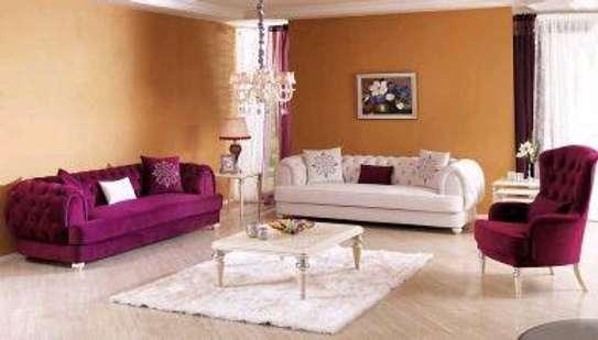 Purple three seater chesterfield sofas for sale in Nairobi Kenya/Cream three seater sofa for sale in Nairobi Kenya image 1