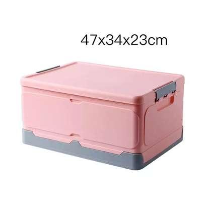 Large foldable storage box with plastic lid closet books and car storage organizer-pink image 2