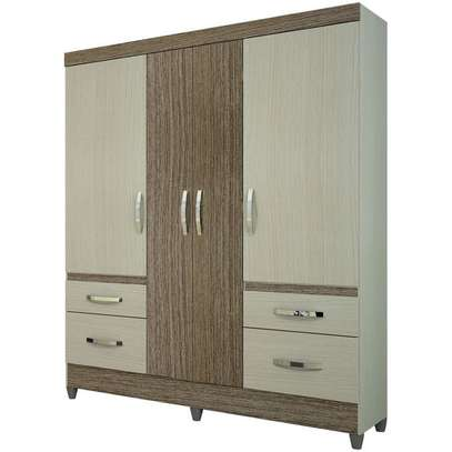 Wardrobe with 4 Doors & 4 Shelves - London Moval Wardrobe - Hazel/Oak image 1