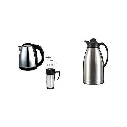 Lyons 1.8Ltrs Cordless Electric Kettle + 2 Ltrs Thermos/Vacuum Flask & Free Travel Mug