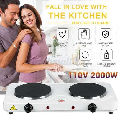 Double Electric Stove Burner HotPlate Heater Cooking image 1