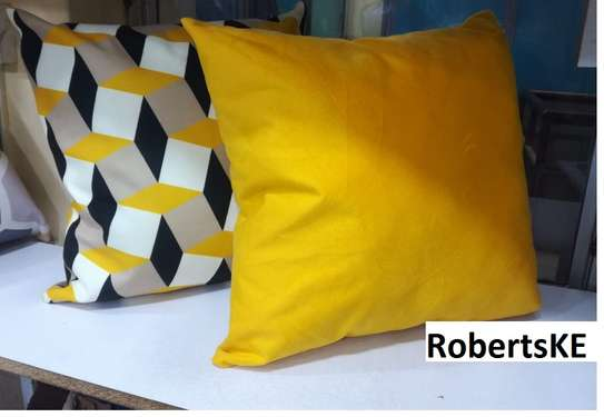 Mustard yellow with matching throw pillows image 1