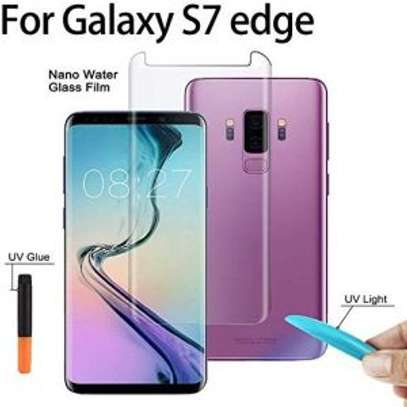 UV Light adhesive tempered glass screen protector for Galaxy S7 Edge + LED Kit image 2