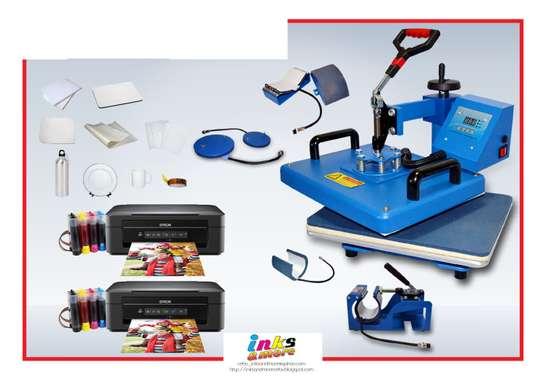 complete heat press 8 in 1 and printer machine. image 1