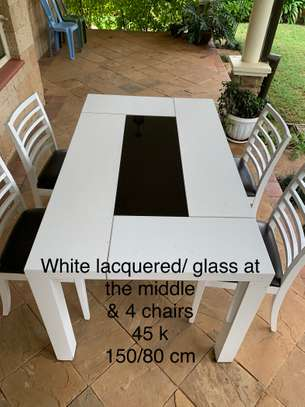white table & 4 chairs image 1
