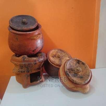 Pure Clay Cooking Serving Pots 3pcs Set +Jiko image 2