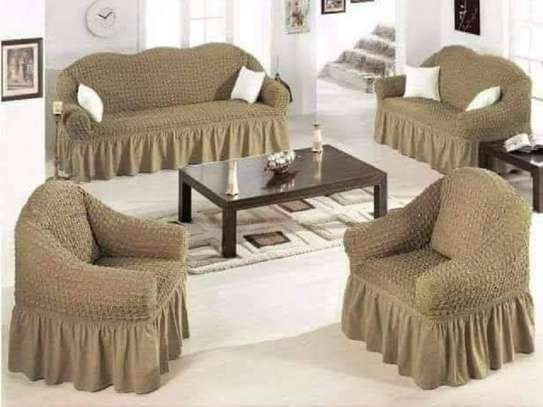 stretchable sofa cover 7 sitter beige image 1