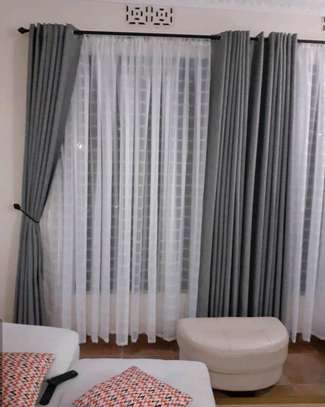GREY CURTAINS WITJ WHITE SHEERS image 1