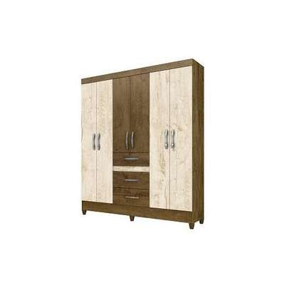 Moval 6 Door Wardrobe Itatibia + Mirror - White Brown image 1