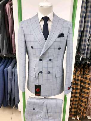 Ash grey checked double-breasted make suit 100% wool. image 1