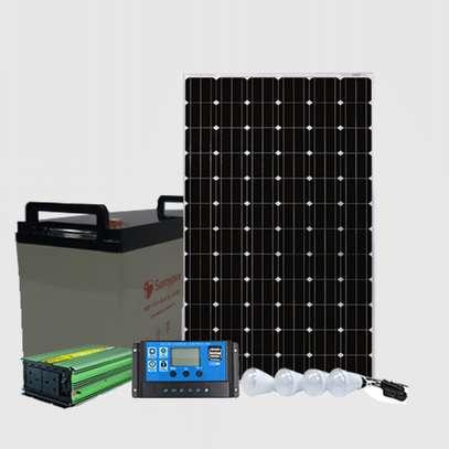 150w SolarMax Solar panel + 120AH Battery + 300w inverter + 20 Amp solar controller + 4 Bulbs. image 1