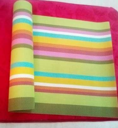 Table runner stripped green yellow 1pc image 1