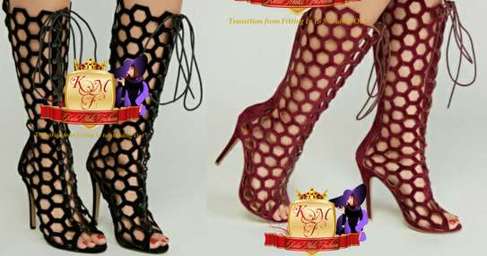 Laser Cut Lace Up Knee Length Boots image 1