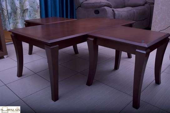 Coffee table almond brown sleek legs image 3