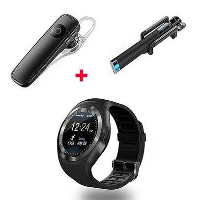 Generic Y1 Smart Phone Watch Free Bluetooth And selfie Stick - Black image 1